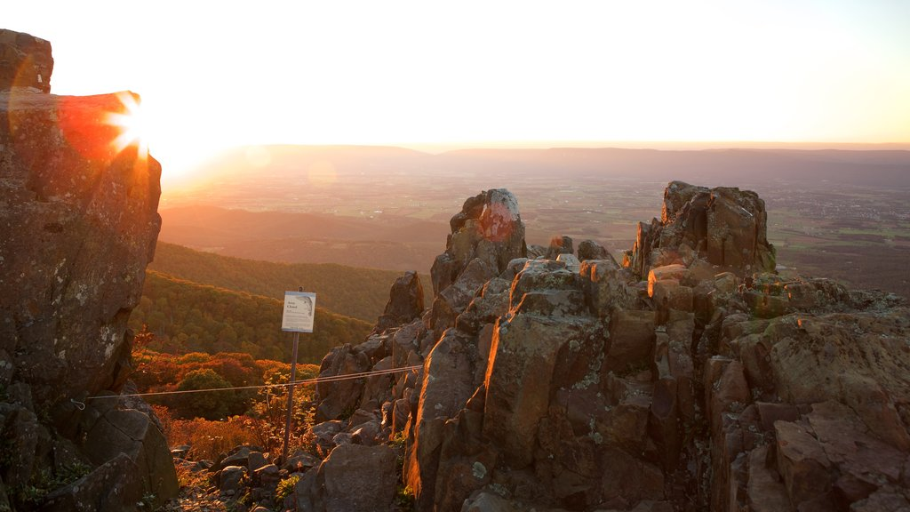 Stony Man featuring landscape views, a gorge or canyon and a sunset