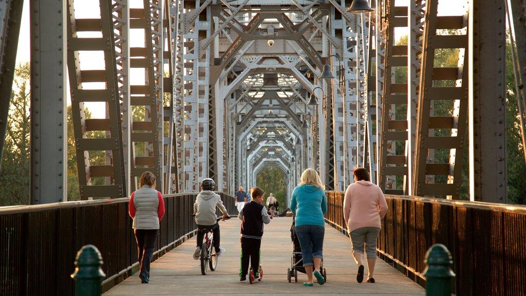 Union Street Railroad Bridge showing a bridge as well as a family