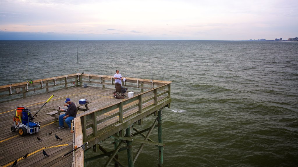 Apache Pier which includes a sunset, general coastal views and fishing