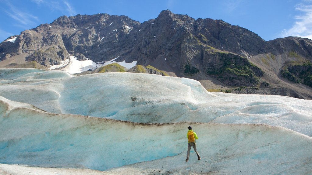 Godwin Glacier which includes mountains and climbing as well as an individual male