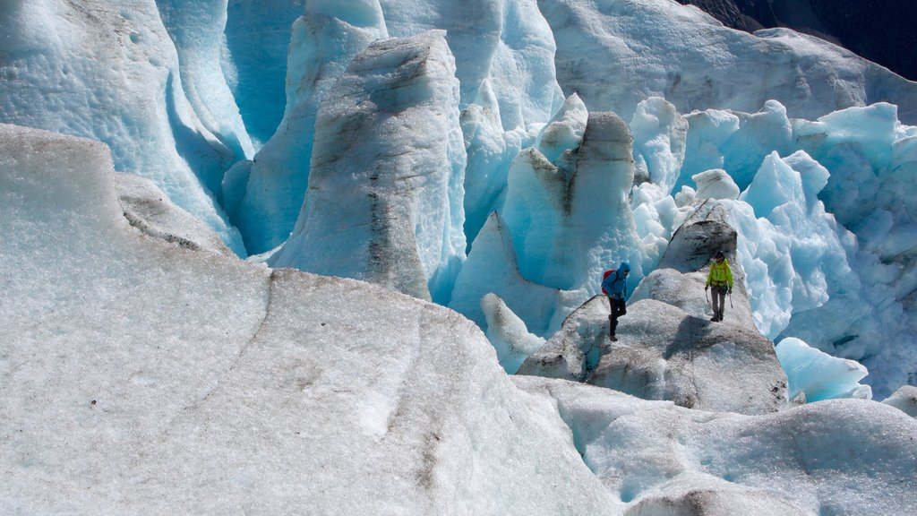 Godwin Glacier featuring climbing as well as a small group of people