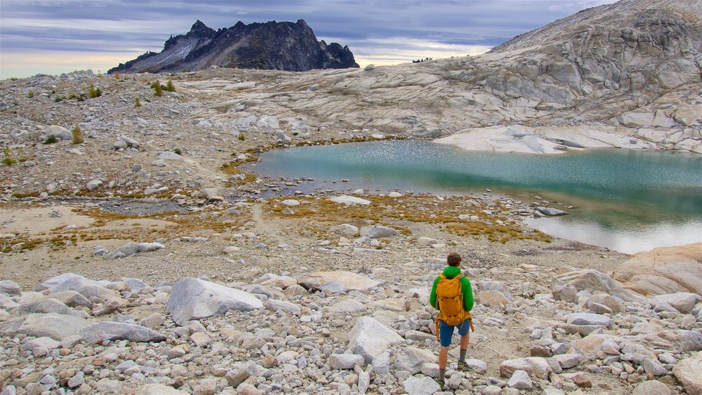 The Enchantments which includes a lake or waterhole and hiking or walking as well as an individual male