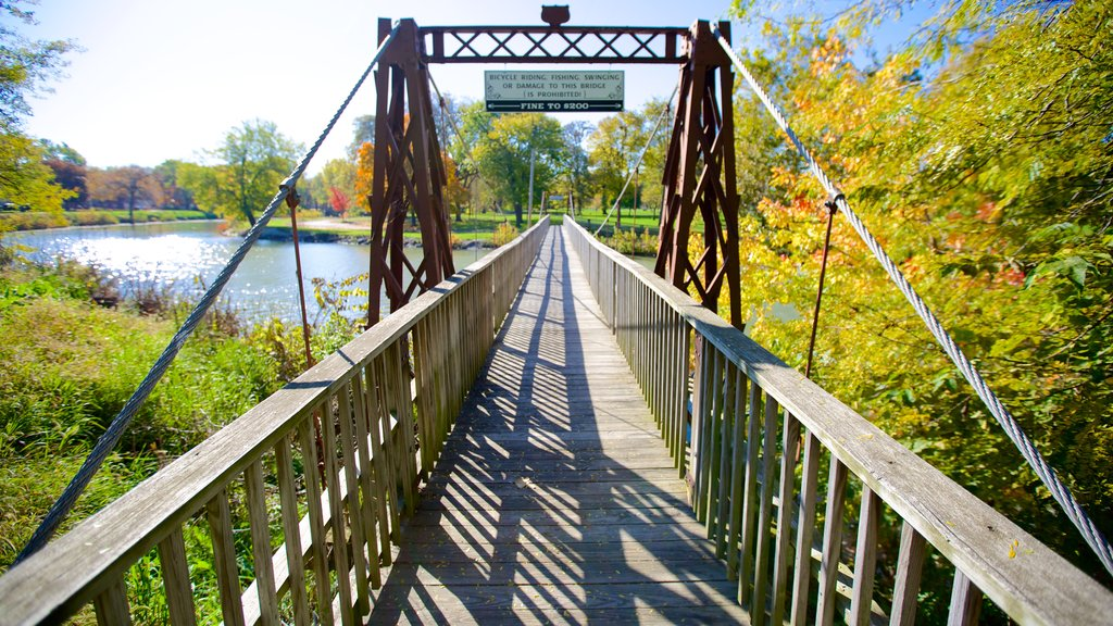 Chautauqua Park showing a bridge and a river or creek