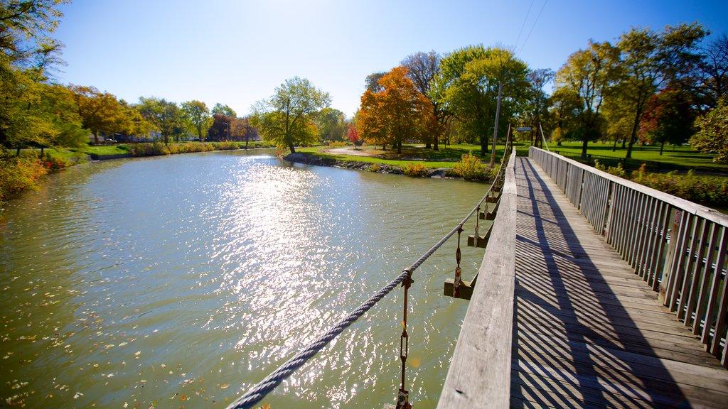 Chautauqua Park featuring a river or creek and a bridge