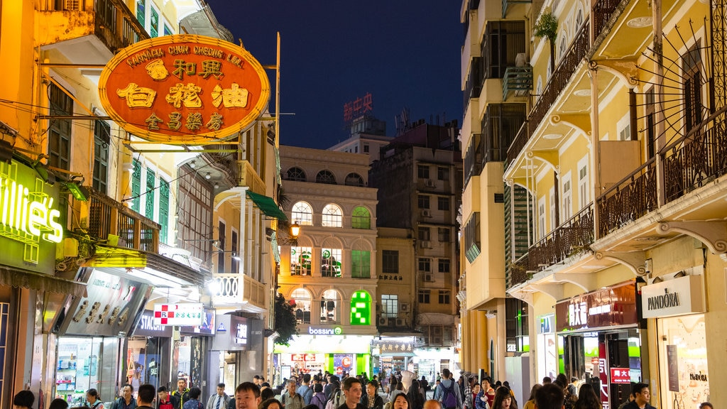 Macau City Centre which includes street scenes, night scenes and a city