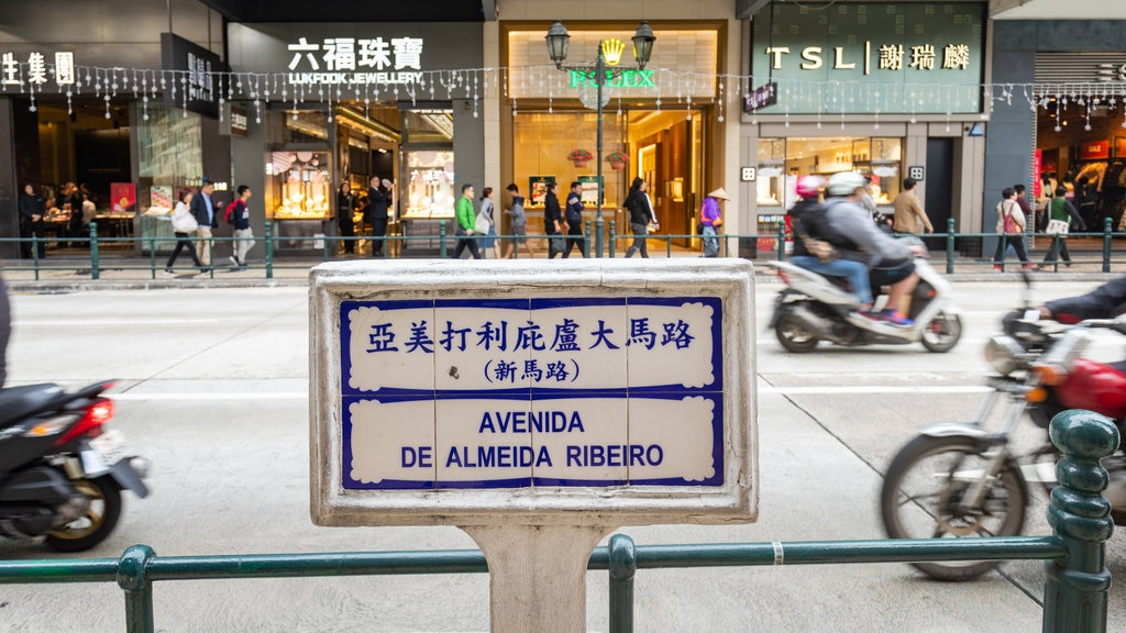 Almeida Ribeiro Street showing street scenes and signage