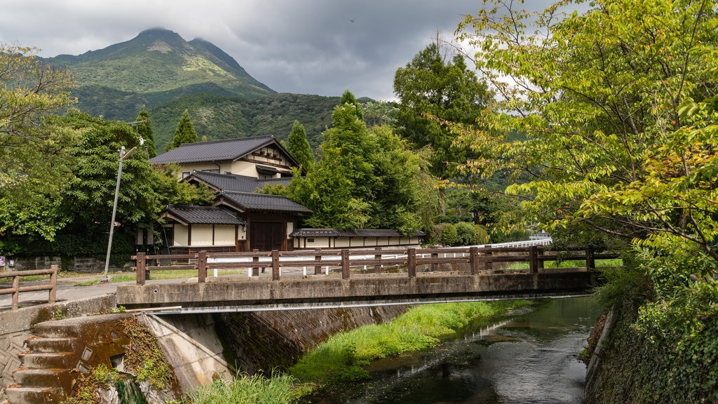 Yufuin Onsen showing a bridge, a river or creek and a small town or village