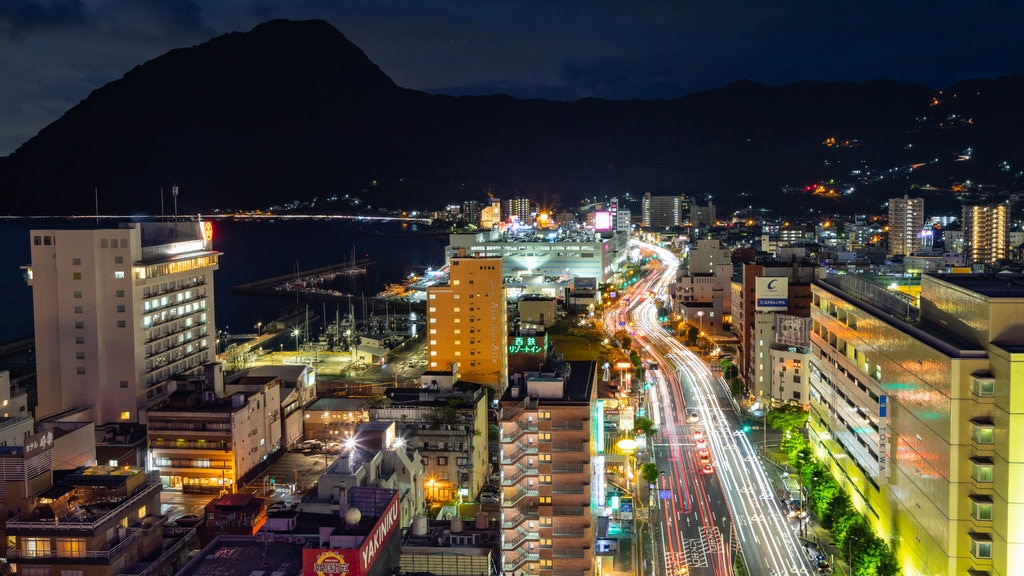 Beppu Tower showing a city, landscape views and night scenes
