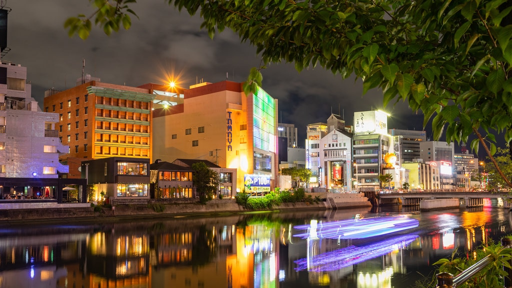 Kyushu and Okinawa showing night scenes, a city and a river or creek