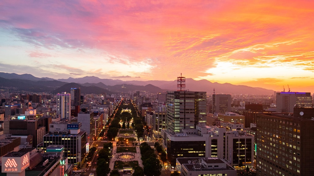 Sapporo ofreciendo una ciudad, vistas de paisajes y una puesta de sol