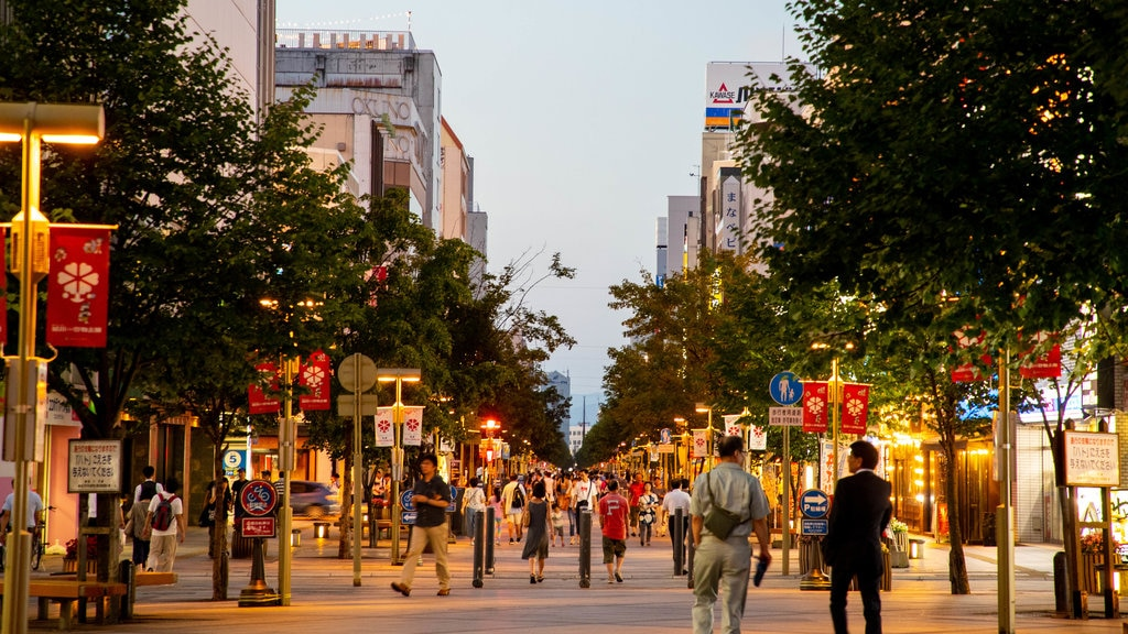 Asahikawa featuring a city, street scenes and a sunset