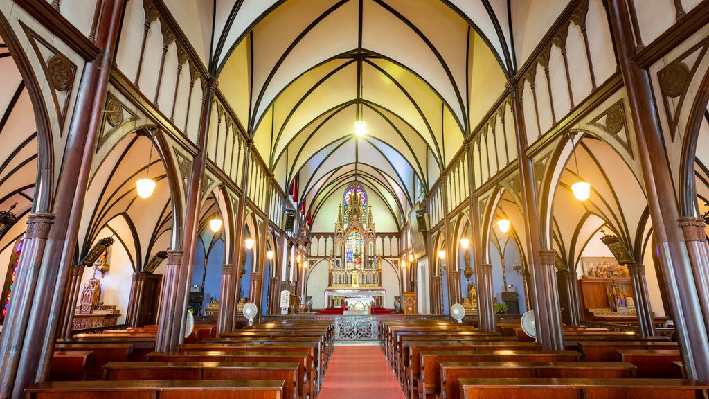 Kyushu and Okinawa showing interior views, a church or cathedral and heritage elements