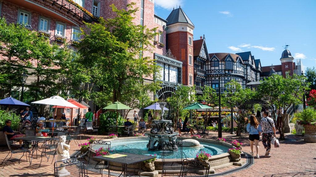 Shiroi Koibito Park featuring a fountain and street scenes