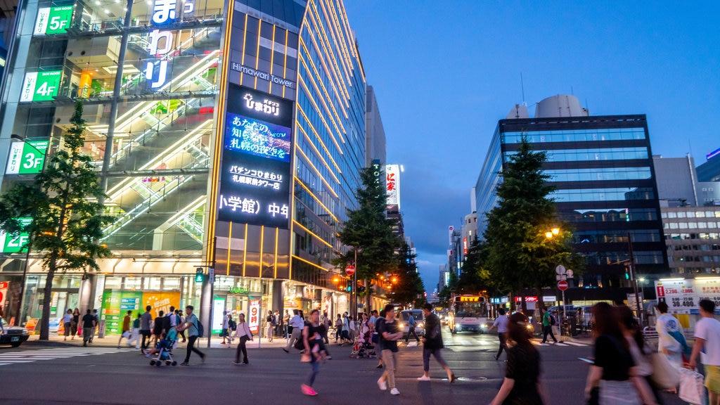 Sapporo which includes night scenes, a city and street scenes