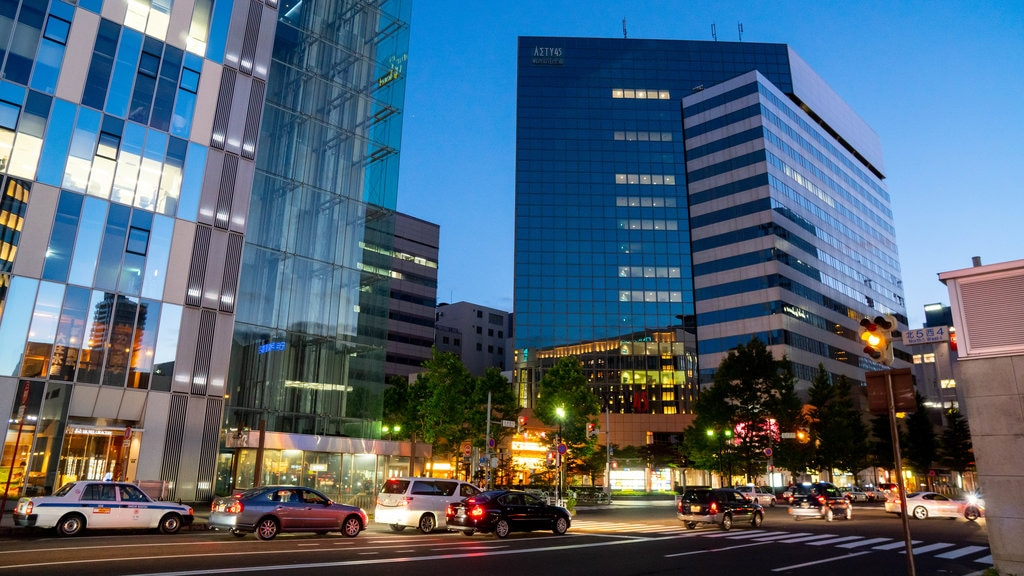 Sapporo showing a city and night scenes