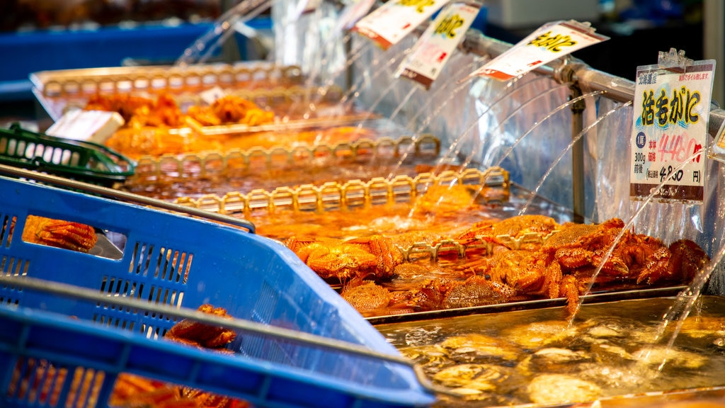 Sapporo Crab Market featuring food and markets