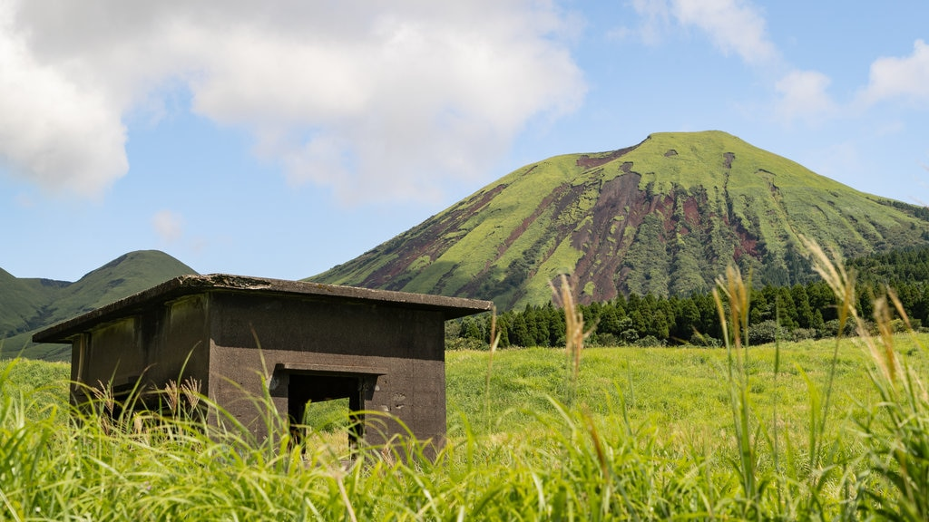 Mount Aso which includes mountains, tranquil scenes and landscape views