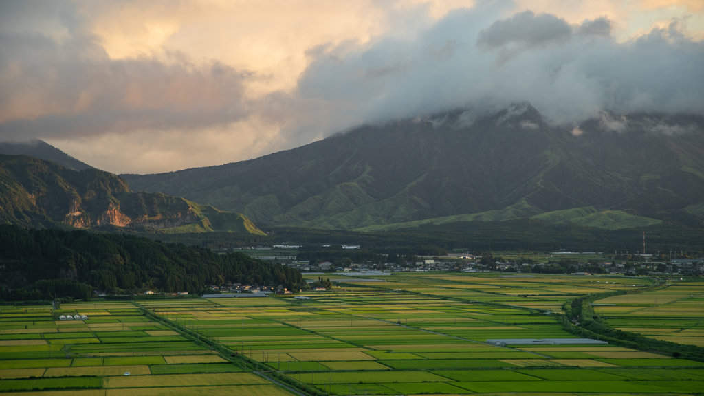 Aso which includes landscape views, a sunset and farmland