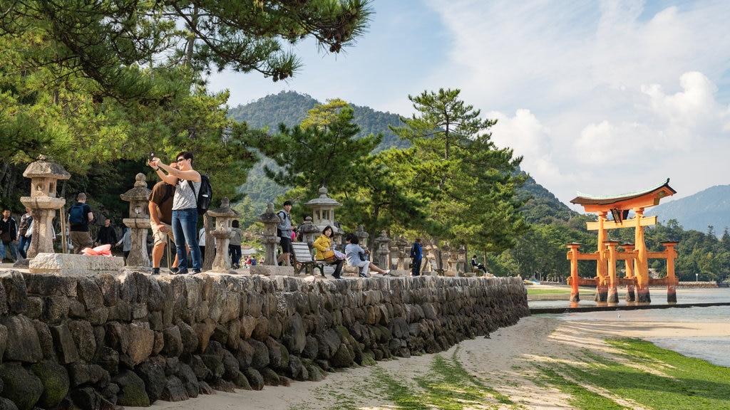 Miyajima showing a sandy beach, a garden and heritage elements