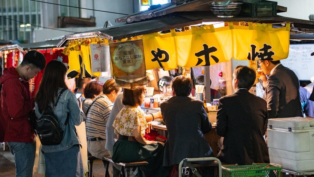 Tenjin showing night scenes, outdoor eating and street scenes