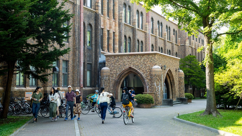 Hokkaido University which includes heritage architecture as well as a small group of people