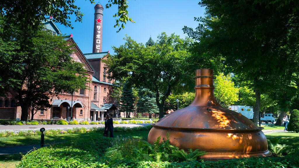 Sapporo Beer Museum featuring outdoor art and a park