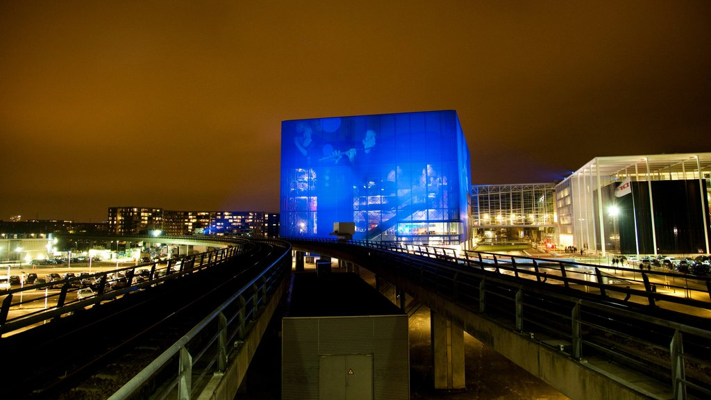 Copenhagen showing night scenes, a city and railway items