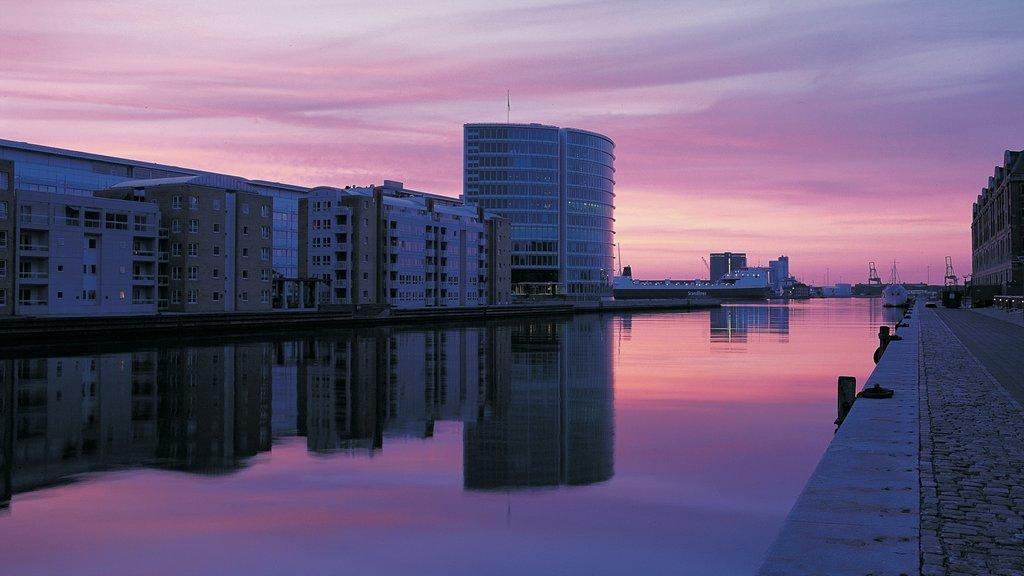 Copenhagen showing a bay or harbor, a marina and a city