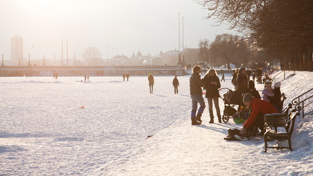 Copenhagen featuring a city, snow and a square or plaza