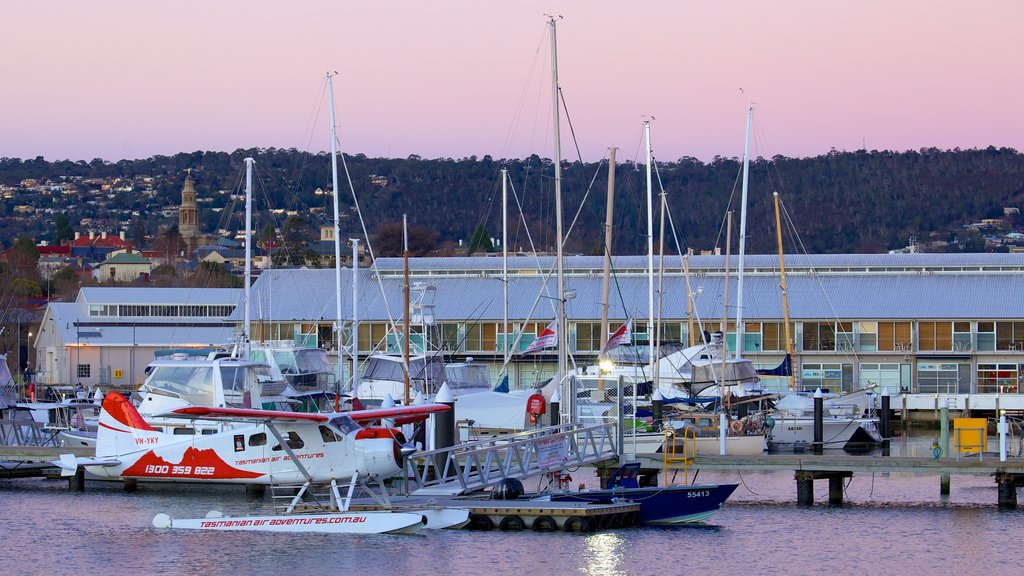 Constitution Dock featuring a coastal town, a sunset and a marina