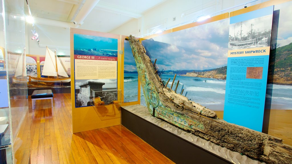 Maritime Museum of Tasmania featuring interior views