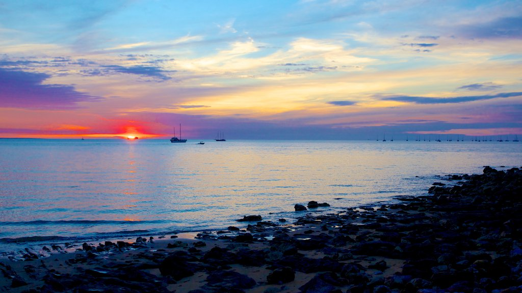 Northern Territory showing a pebble beach and a sunset