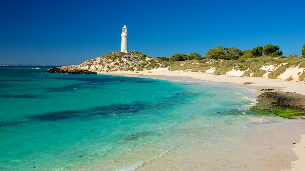 Perth showing a lighthouse, landscape views and a sandy beach