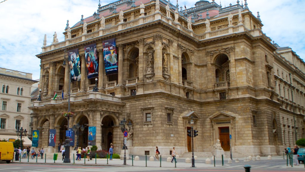 Hungarian State Opera House showing heritage architecture, theater scenes and a city