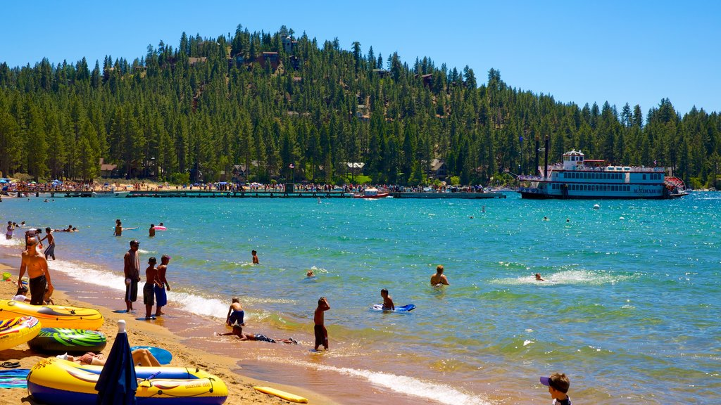Zephyr Cove Beach which includes swimming, a beach and boating
