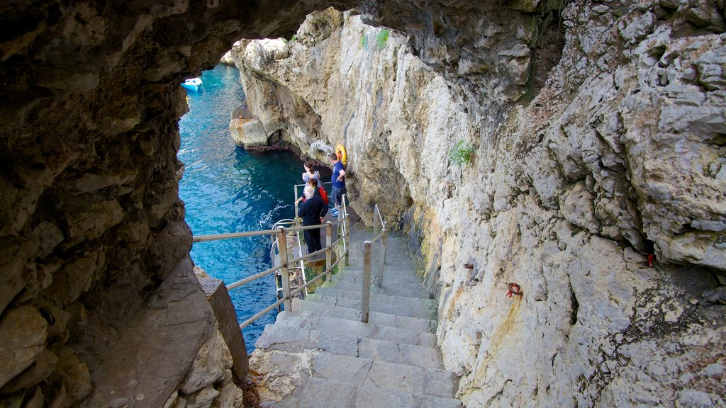 Blue Grotto which includes rugged coastline and hiking or walking