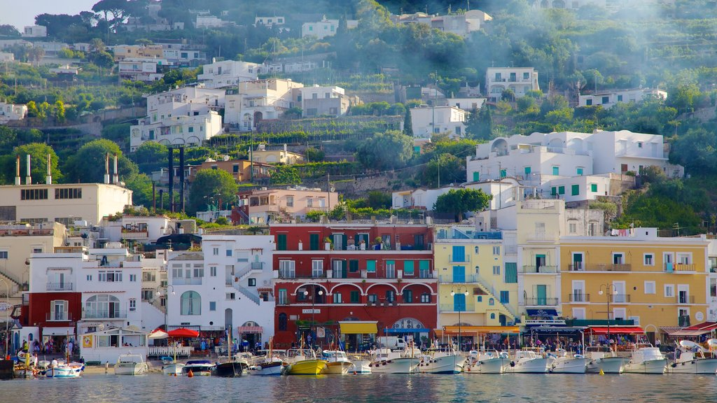 Capri Island featuring a coastal town, a marina and boating
