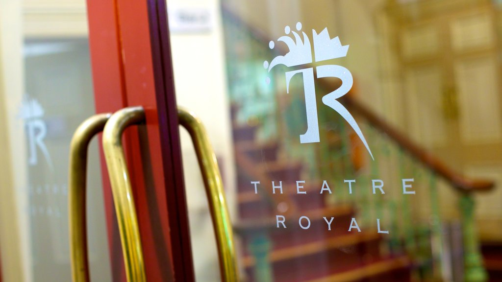 Theatre Royal which includes signage and theater scenes