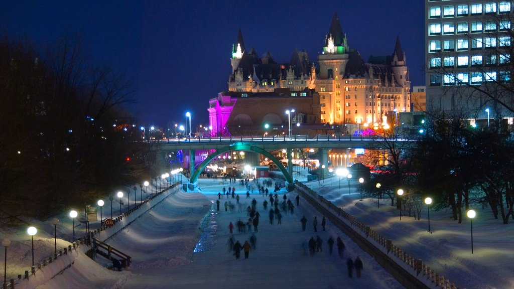 Rideau Canal featuring night scenes, snow and nightlife