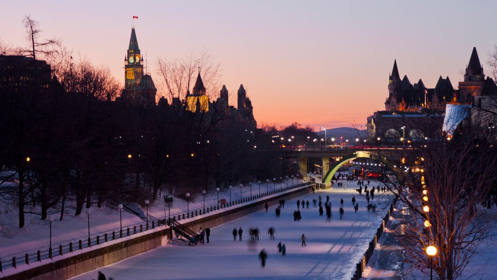 Rideau Canal featuring a city, a sunset and snow