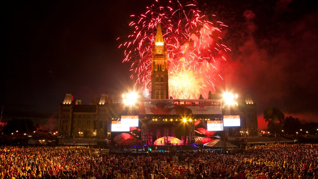 Parliament Hill showing night scenes, nightlife and performance art