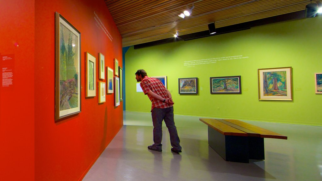 Art Gallery of Greater Victoria showing interior views and art as well as an individual male