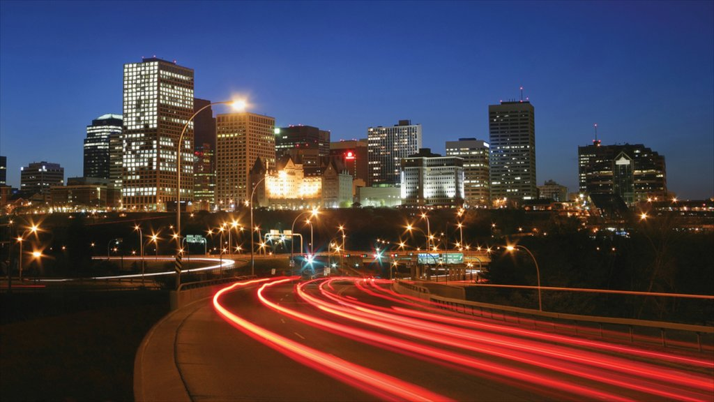 Edmonton showing night scenes and a city