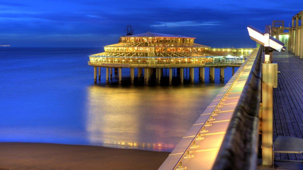 Scheveningen Pier which includes night scenes, views and modern architecture