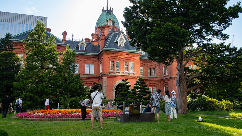 Former Hokkaido Government Office Building which includes a park, heritage architecture and flowers