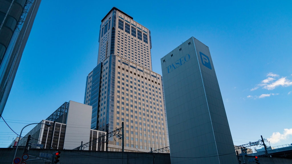 Sapporo JR Tower showing a skyscraper and a city