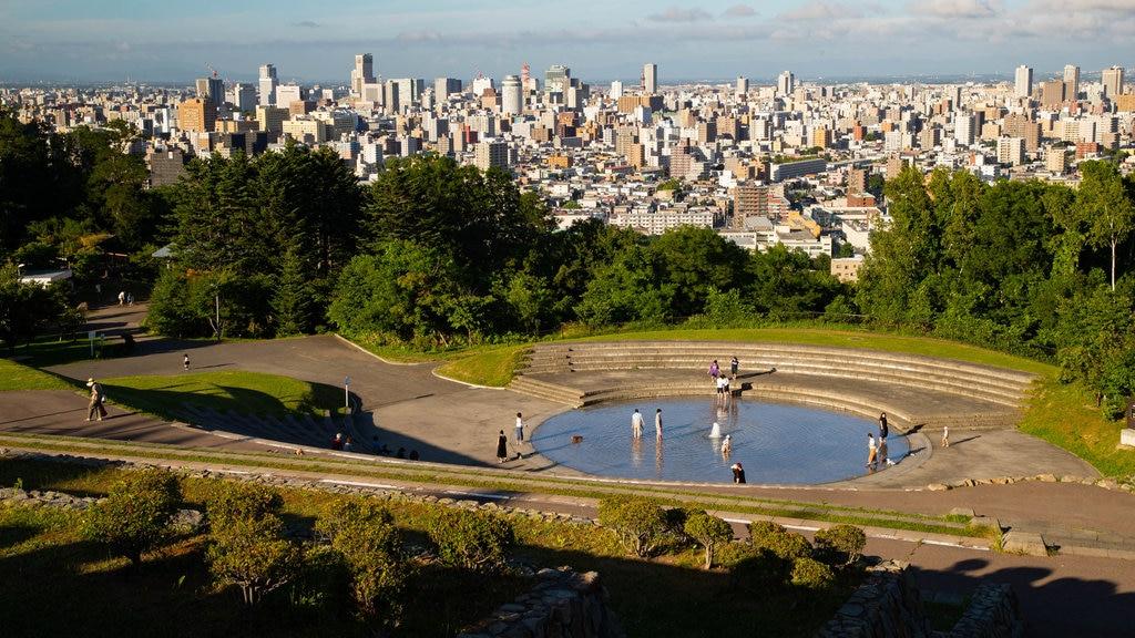 Asahiyama Park featuring a city, landscape views and a fountain