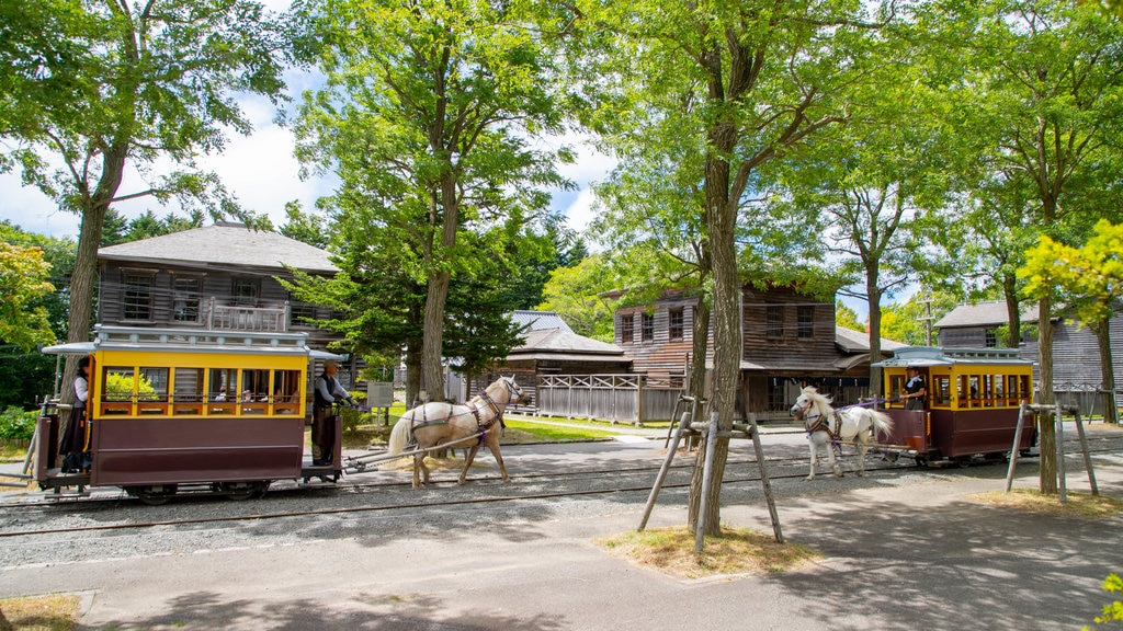 Historical Village of Hokkaido featuring railway items, a small town or village and land animals