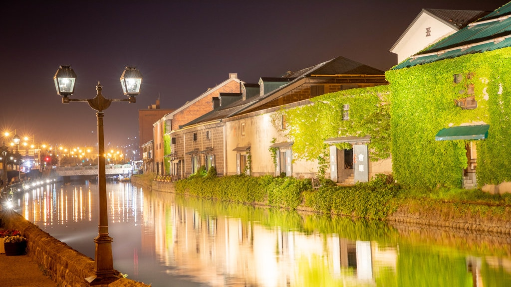 Otaru Canal showing a river or creek and night scenes