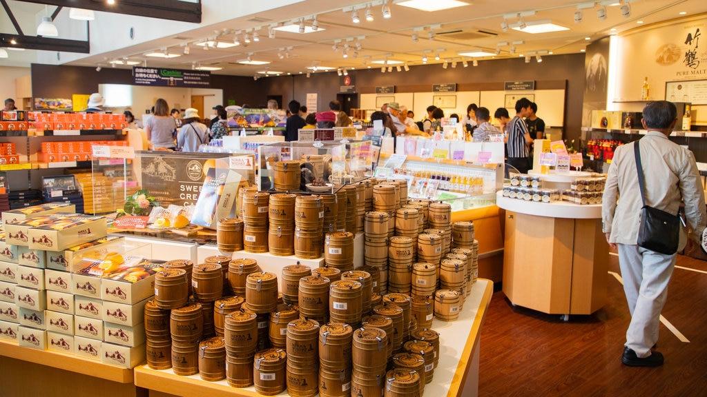 Nikka Whiskey Distillery Yoichi showing interior views and shopping
